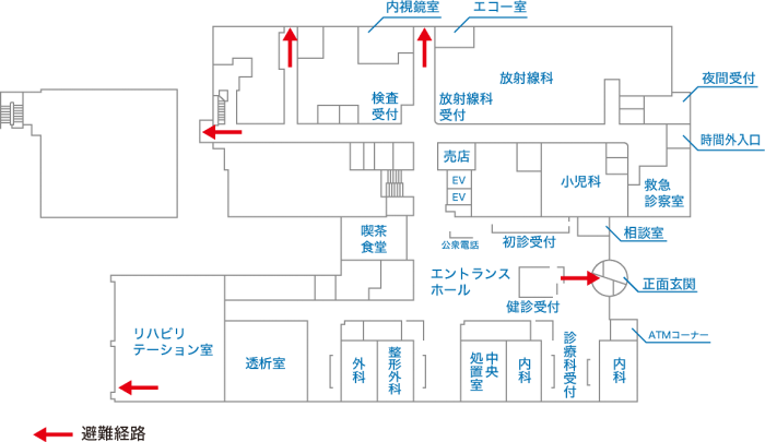 避難経路図1階